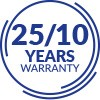 25 YEARS OF WARRANTY ON THE FRAME 10 YEARS FOR OTHER ELEMENTS