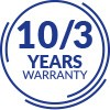 10 YEARS OF WARRANTY ON THE FRAME 3 YEARS FOR OTHER ELEMENTS