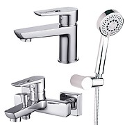 Set: washbasin and bath-shower faucet Mille, shower set Lano