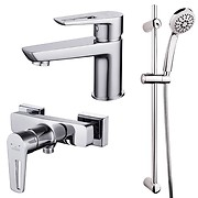 Set: washbasin and shower faucet Mille, shower set Vibe