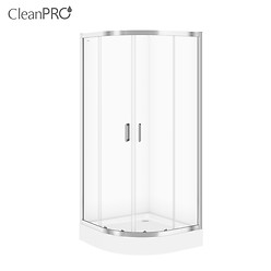SET B96: ARTECO halfround shower enclosure 80 x 190 with TAKO shower tray 80 x 16