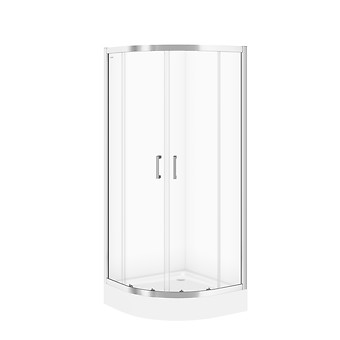 SET B161: BASIC halfround shower enclosure 80 x 185 with TAKO shower tray 80 x 16