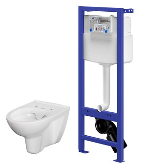 HI-TEC WC frame with PARVA CleanOn wall hung bowl