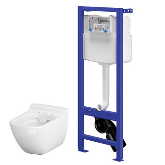 HI-TEC WC frame and CASPIA CleanOn wall hung bowl with hidden fixation
