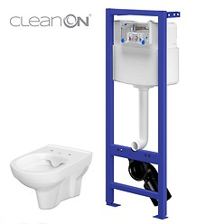 HI-TEC WC frame with CITY CleanOn wall hung bowl