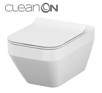 CREA wall hung bowl CleanOn rectangular with toilet seat