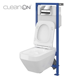 HI-TEC WC frame and CREA wall hung bowl CleanOn rectangular