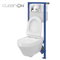 HI-TEC WC frame and CREA wall hung bowl CleanOn oval
